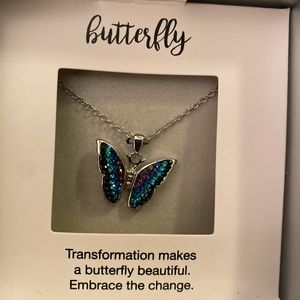 Beautiful 18 in Butterfly necklace silver tone